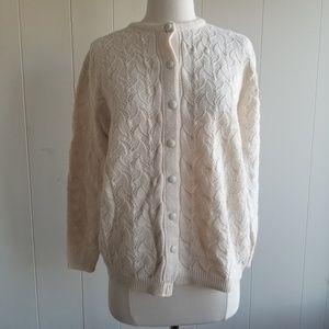 Vintage Sweaters - 1970s Cuddle Knit Ivory Cardigan